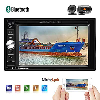 2 Din Car Radio Universal Car Stereo 6.2'' Digital Touch Screen Support Bluetooth Rear View Backup Camera Mirror Link Steering Wheel Control TF USB FM AUX DVR Video MP5 Player with Driving Recorder: GPS & Navigation