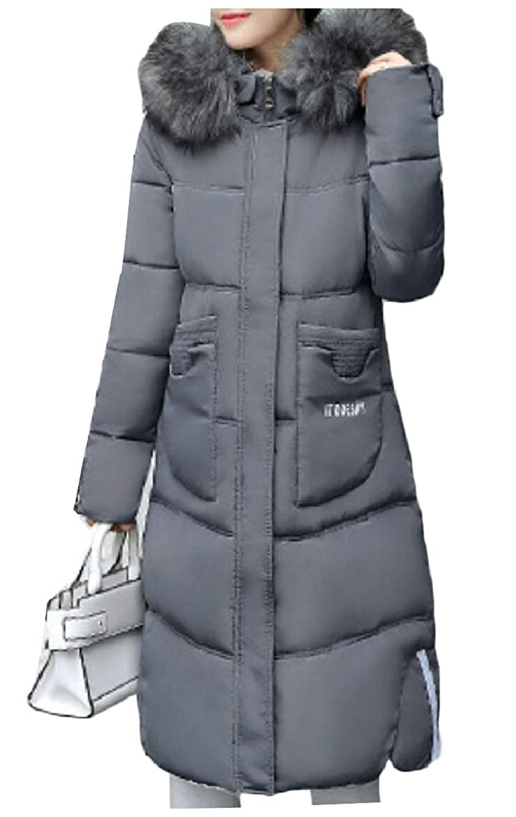 Dark Grey LEISHOP Womens Warm Thickened Quilted Zip Up Down Hooded Short Puffer Jacket