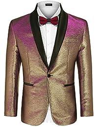 Men's Fashion Suit Jacket Blazer One Button Luxury Weddings Party Dinner Prom Tuxedo Gold Silver
