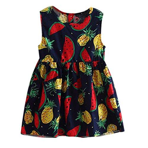 [Mosunx(TM) Baby Girls Summer Floral Fruits Sleeveless Dresses Princess Dress (3T, Navy)] (Pineapple Costume Girl)