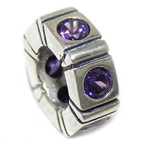 "Solid 925 Sterling Silver ""Small Hexagonal Spacer with CZ"" Charm Bead (Purple)"
