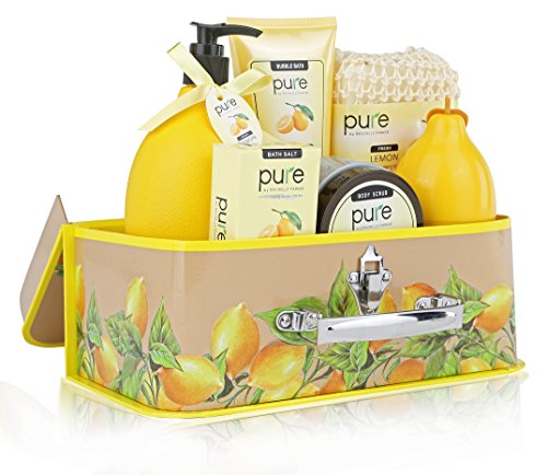 Best Christmas Gift! Zesty Lemon Spa in a Basket. Pure! Bath & Body Luxury Spa Kit for Ultimate Spa Gift