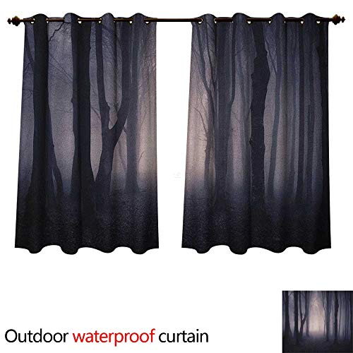 Anshesix Forest Outdoor Balcony Privacy Curtain Path Through Dark Deep in Forest with Fog Halloween Creepy Twisted Branches Picture W55 x L45(140cm x 115cm) -