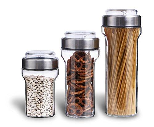 Elemental Kitchen Glass Jar Food Storage Container Set w/ Stainless Steel Measuring Cup Lids - 3 Piece Set