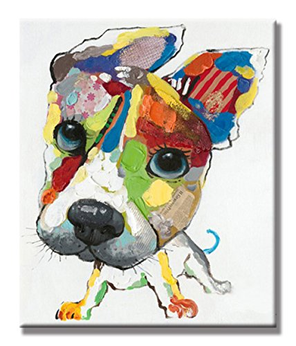 SEVEN WALL ARTS - 100% Hand Painted Oil Painting Animal Cute Dog with Stretched Frame (20 x 24 Inch, A Lovely Dog) (Framed Kids Wall)