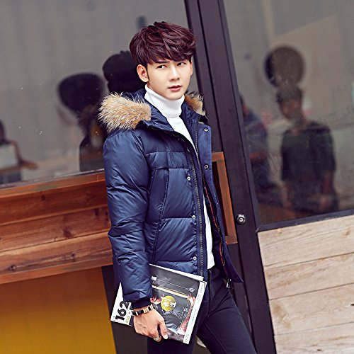 Puffer Outwear Quilted Navy Winter Hooded Men's Jacket Padded Coat Collar Warm Coat Blue Stand Lsm wq1x0zOPW