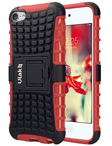 ULAK iPod Touch 7 Case, iPod Touch 5 & 6th Case, Heavy Duty Dual Shock Absorbent Impact Resistance Hybrid Rugged Case with Built-in Kickstand for Apple iPod Touch 5 6th Generation, Red + Black