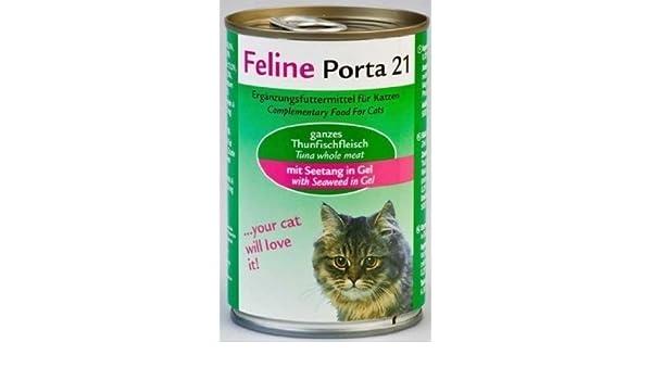 FELINE Porta 21 | Duran de atún Carne con Algas | 24 x 400 g: Amazon.es: Productos para mascotas