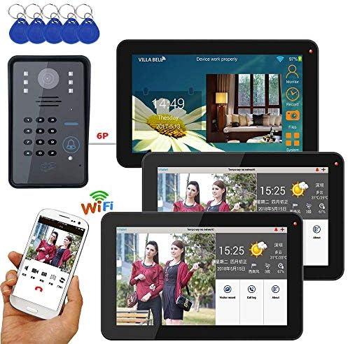 + IR-CUT HD 1000TVLカメラ付き9インチモニター3有線/ワイヤレス無線LAN RFIDパスワードビデオドア電話ドアベルインターホンシステム