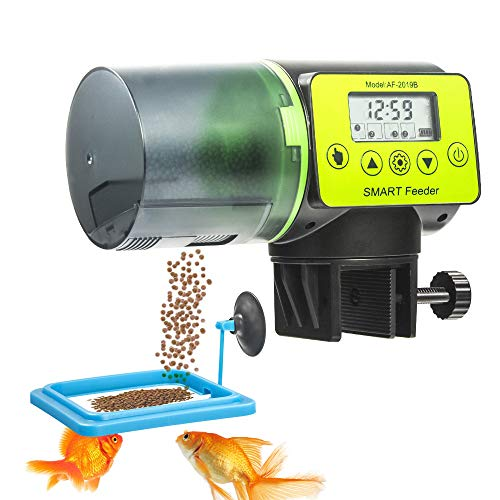 WISCOON Fish Feeder, Auto Fish Feeder, Fish Food Vacation Feeder Timer Moisture-Proof 200ml Feeders for Aquarium and Turtle with Feeding Ring (Green)