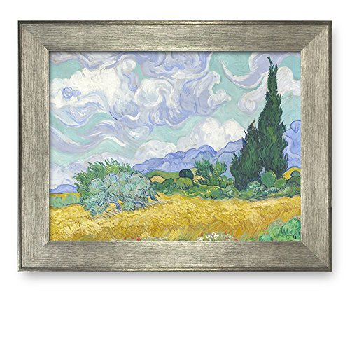 A Wheatfield with Cypresses by Vincent Van Gogh Framed Art Print Famous Painting Wall Decor Silver Frame