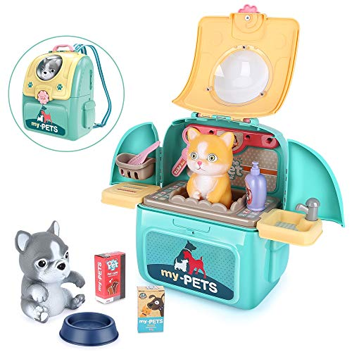 LBLA Pet Care Play Set for Kids Dog Cat Backpack Pretend Toys for Toddlers Educational Gifts for Girls Boys 17 Pieces