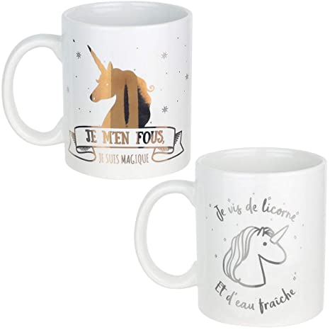 Promobo   Lot Ensemble De 2 Mug Tasse A Café Design Licorne Magique Blanc Or