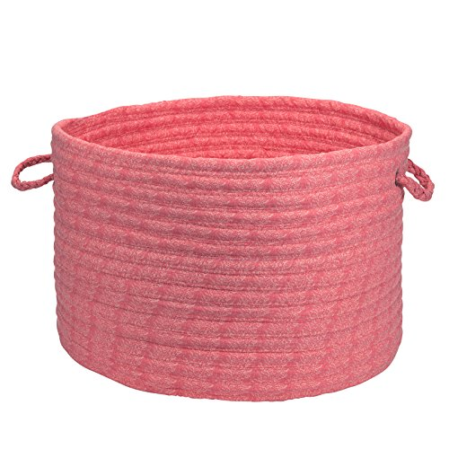 Solid Fabric Basket Storage Basket, 14 by 10-Inch, Coral Pink