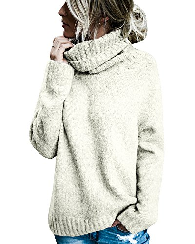 Beautife Womens Sweaters Casual Turtleneck Long Sleeve Soft Knitted Sweater Pullover (Large, White)
