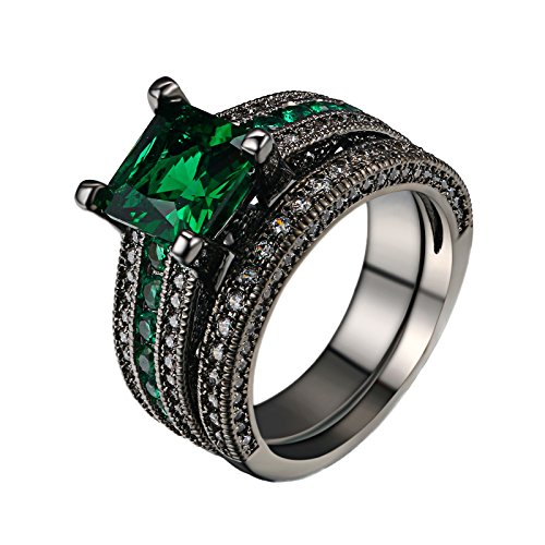 dbmood black gold square emerald green gemstone women wedding engagement rings set with cubic zirconia 8 - Green Wedding Rings