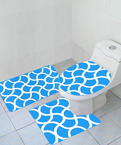 Empire Home Thick 3 Piece Geometric Wave High Pile Bathroom Set - New Arrival ()