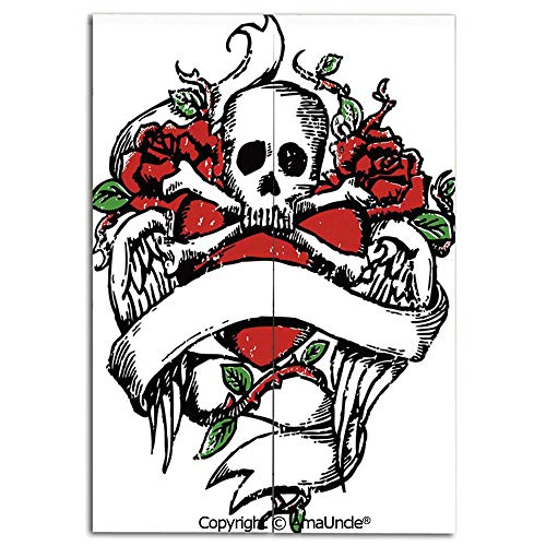 (Decoration Doorway Curtain for Room Separation,Sketchy Revival Skull Figure Big Red Heart Crossed Bones Wings and Leaves Decorative(33.5x59 Inches), Stop Wind and Dust,Used for Kitchen Apartment )