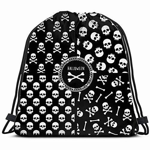 (Set Four S Skulls Holidays Drawstring Bag Backpack Gym Dance Bag Reversible Flip Sequin Bling Backpack For Hiking Beach Travel)