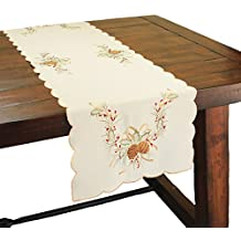 Xia Home Fashions Classic Pine Cone Embroidered Collection Christmas Table Runner, 15 by 72-Inch