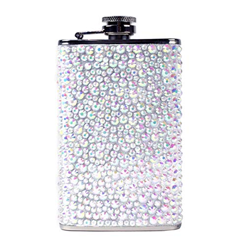 Stainless Steel Rhinestone Glitter Liquor Hip Flask Bachelorette Party Wedding Gift