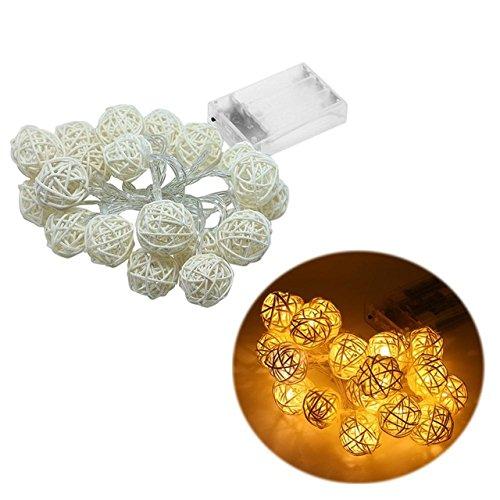 20 LED Rattan Ball Shape String Lamp Lights Wedding Christmas Holiday Party Decoration DIY (Dewalt Work Light Tripod)