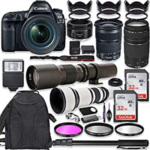 Canon EOS 5D Mark IV DSLR Camera w/ 24-105mm STM Lens + Canon EF 75-300mm III Lens, Canon 50mm f/1.8, 500mm Lens & 650…