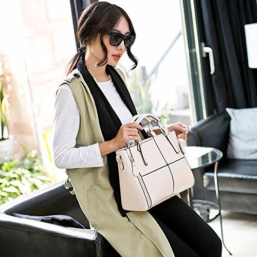 Leather Solid Shoulder Handbag Handbags 12cm Black Tote 32cm Classic Casual H W Bag Ladies Bags Capacity Large Messenger 23cm White Satchel Women's Body Tote Cross Fashion L Bags q7HtE