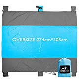 Oversize Sand Free Compact Lightweight Beach Blanket (9' X 10'), Durable Outdoor Soft Picnic Mat with Four Stakes and Sand Anchors, Made of 100%Parachute Nylon …
