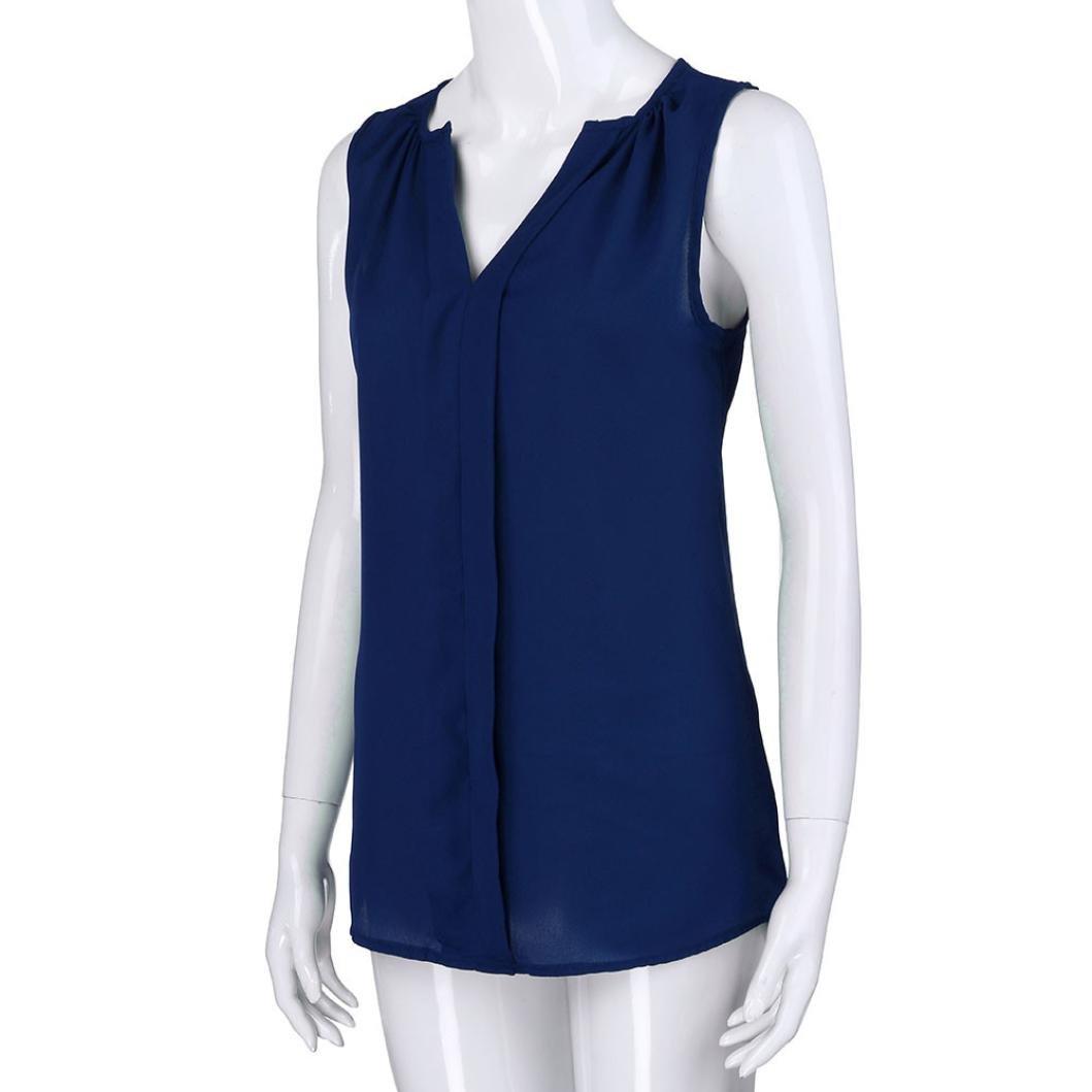 ❤ Chaleco de Cuello Redondo con Cuello en V para Mujer, Camisa Blusa sin Mangas Camiseta sin Mangas de Estilo Casual: Amazon.es: Ropa y accesorios