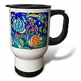 3dRose Danita Delimont - Artwork - Ancient Arab Islamic Blue Orange Flower Design, Madaba, Jordan - 14oz Stainless Steel Travel Mug (tm_276929_1)