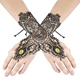 YiZYiF 1 Pair Vintage Floral Lace Gloves Women Fingerless Lace Up Bracelet Steampunk Slave Wristband Ring Halloween Wedding Party Accessories Type A One Size