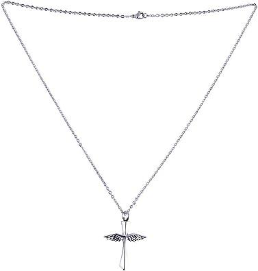 Qiiueen💦Collares Hombres Y Mujer, Volando En Tu Corazón, Alas Cruzadas, Collar De Ataúd De Acero Inoxidable: Amazon.es: Joyería