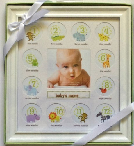 (Stepping Stone Babys First Year Picture Frame (White Frame with Room to Add Babys Name))