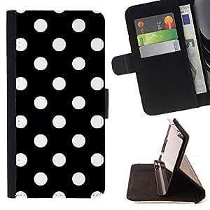 Dot Negro Blanco Punk Goth Corbata- Modelo colorido cuero de la carpeta del tirón del caso cubierta piel Holster Funda protecció Para Apple iPhone 5 / iPhone 5S