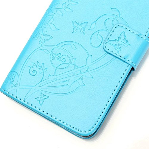 JIALUN-Personality teléfono shell Samsung G386f estuche, caja de cuero de la PU Premium Folio Flip estuche caso de la caja de la flor en relieve para Samsung G386f Seguridad y Moda ( Color : Pink , Si Blue