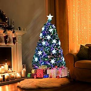 Goplus Artificial Christmas Tree Pre-Lit Fiber Optic Premium Spruce Hinged Tree W/UL Certified Multicolored LED Lights & Metal Stand 2