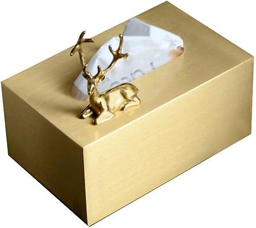 OLT - Tissue box Caja de pañuelos de Metal Dorado, Bandeja de servilletas para la decoración de la Sala de Estar del hogar, Caja de Almacenamiento de Tejidos (Color : Deer Box):