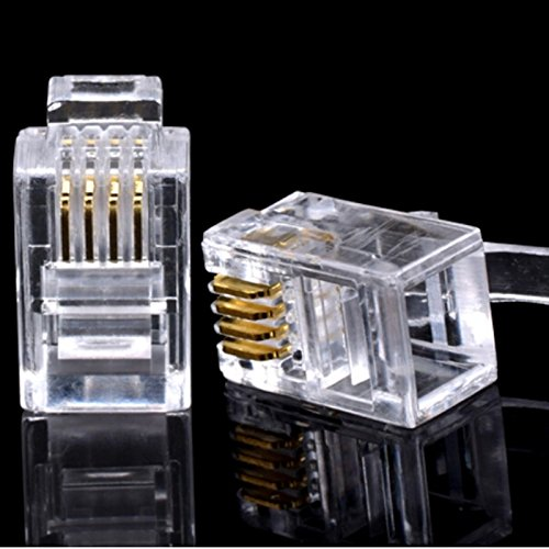 Connectors 100 PCS Crystal Head RJ11 Connector 4P4C 4 Pins 4 Contacts Telephone Modular Plug Jack Gold Plated Network Cable Connector - (Cable Length: AS PIC) ()