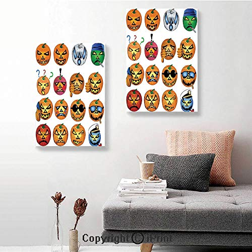 SfeatruRWF Canvas Wall Art Decor,Carved Pumpkin with Emoji Faces Halloween Humor Hipster Monsters Art,16