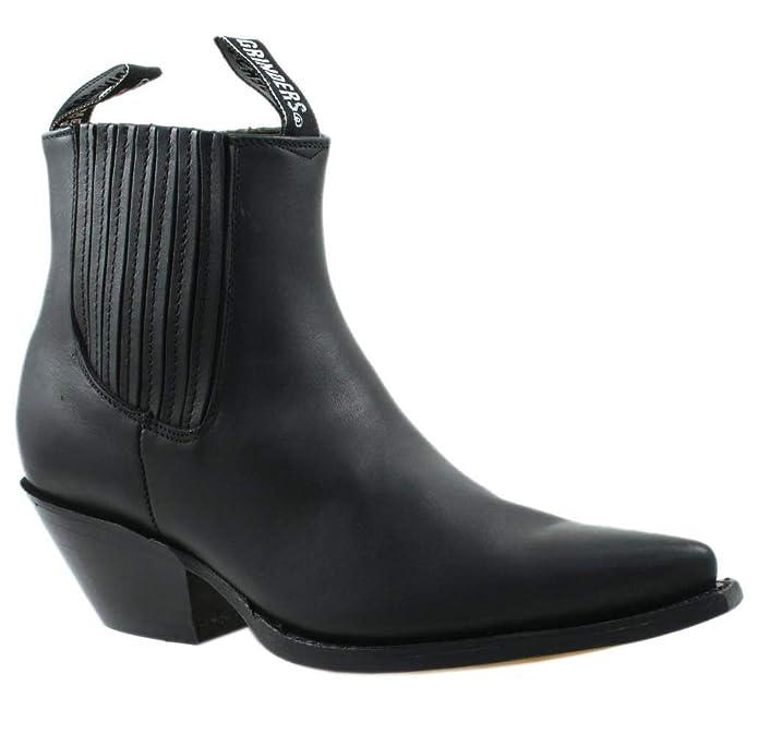 Botas de Vaquero de Cuero Real Negras de Mustang Mustang Resbalón en Botines Chelsea de tacón Cubano: Amazon.es: Zapatos y complementos