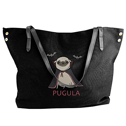 Funny Pug Halloween Costume Pugula Women's Large Tote Bags Canvas Bags Shoulder Handbags