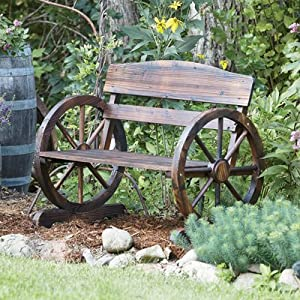 Wagon Wheel Wooden Outdoor Bench