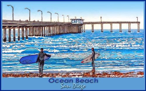 Northwest Art Mall San Diego California Ocean Beach Saturday Surfing by David Linton Wall Decor, 11-Inch by - In Diego California Malls San