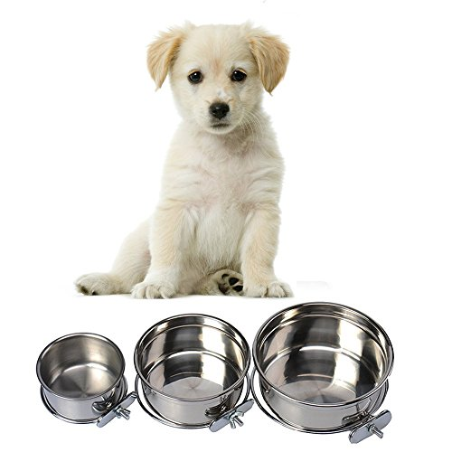 Dog Carrier Cage Crock - Pet Dog Stainless Steel Coop Cups with Clamp Holder - Detached Dog Cat Cage Kennel Hanging Bowl,Metal Food Water Feeder for Small Animal Ferret Rabbit (Medium)