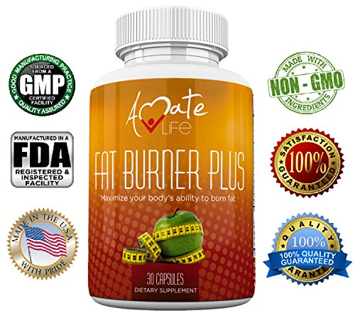 Fat Burner Weight Loss Natural Supplement Appetite Suppressant for Men and Women -Metabolism Booster for Weight Loss- Stimulant Free Non-GMO Dietary Supplement 30 Capsules by Amate Life