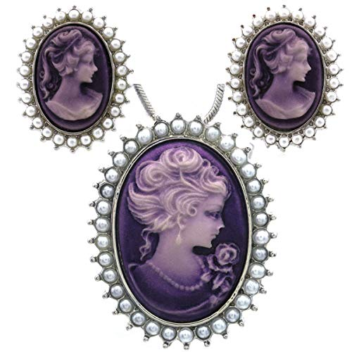 Soulbreezecollection Lavender Purple Cameo Jewelry Set Necklace Pendant Stud Post Earrings Faux Pearl ()