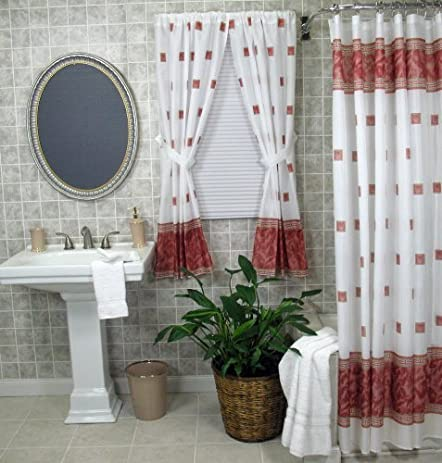 Burgundy Shower And Window Curtain Set