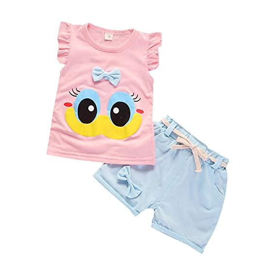 2pcs Toddler Kids Baby Girl Outfit Cartoon Print T-shirt Tops+Shorts Clothes Set