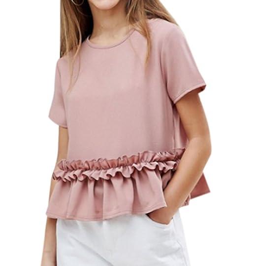 OUFour Mujeres Verano Cuello Redondo Manga Corta Tops Blusa Camisetas Moda Lado de la Hoja de